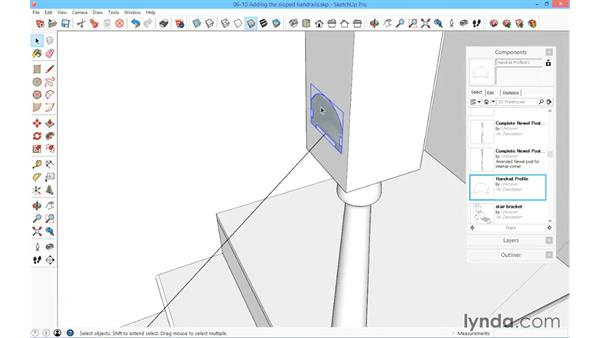 Adding the sloped handrail: SketchUp for Architecture: Fundamentals