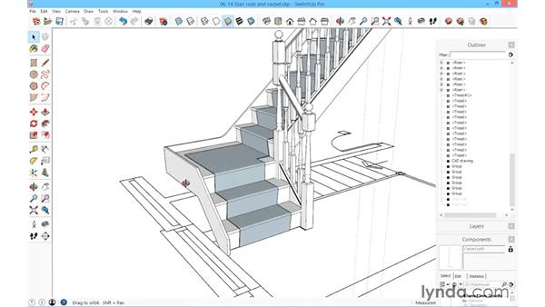 Stair rods and carpet for Sketchup deck design
