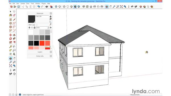 Painting the rainwater goods: SketchUp for Architecture: Fundamentals