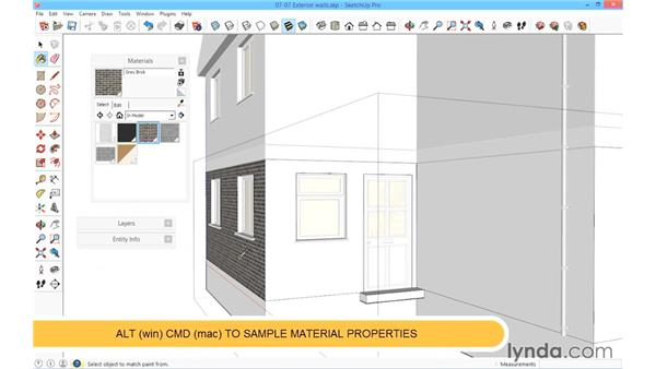 Adding texture to external walls: SketchUp for Architecture: Fundamentals