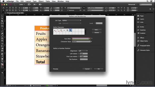 162 Adding automatic currency symbols in a table cell or before text: InDesign Secrets