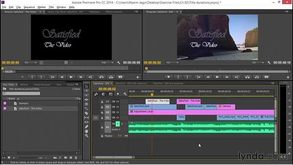 Working with title durations: EPK Editing Workflows 05: Titles, Graphics, and Output
