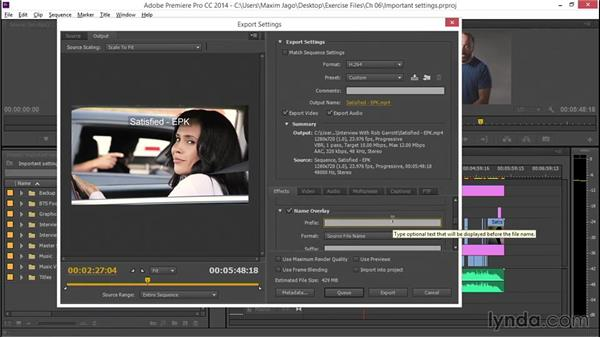 Reviewing important output settings: EPK Editing Workflows 05: Titles, Graphics, and Output