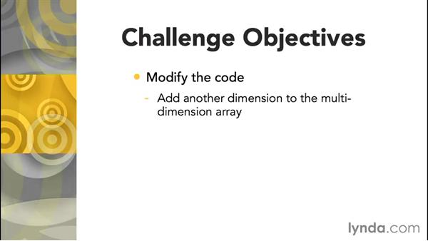 Challenge: Add a dimension to an array: Up and Running with C