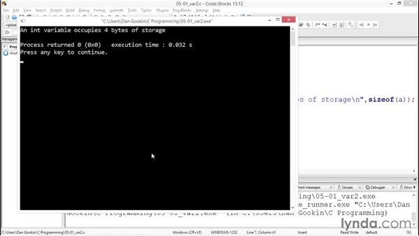 Understanding variables: Up and Running with C