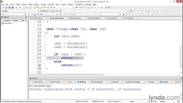 Creating pointer functions: Up and Running with C