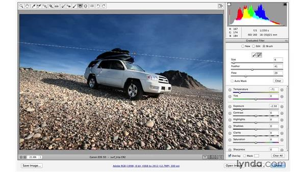 Improving the sky with the Graduated filter (CC 2014.1): Photoshop CC for Photographers: Fundamentals