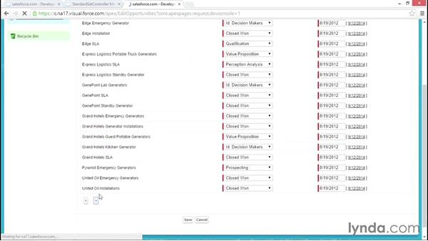 Adding pagination to the edit opportunities page: Developing with Visualforce