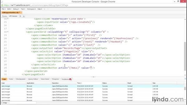 Solution: Add paging info to the edit opportunities page: Developing with Visualforce