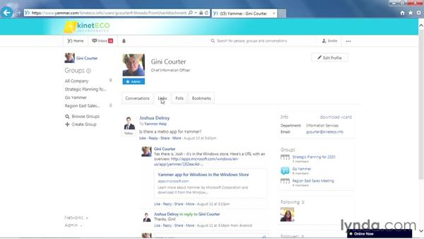 Exploring the Yammer pages: Yammer Essential Training