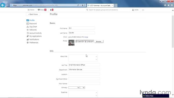 Editing your profile: Yammer Essential Training