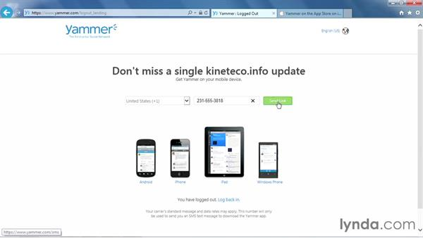 Downloading Yammer for mobile devices: Yammer Essential Training