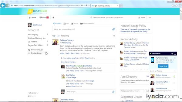 Using the Home Feed: Yammer Essential Training