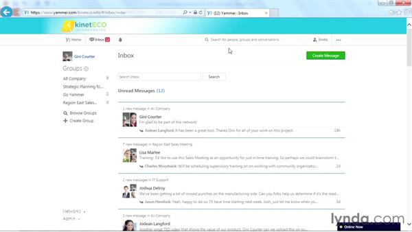 Checking your inbox messages: Yammer Essential Training