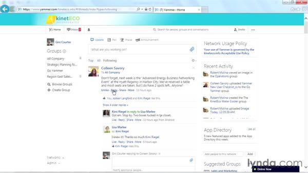 Liking, replying, and sharing messages: Yammer Essential Training