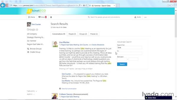 Searching your inbox: Yammer Essential Training