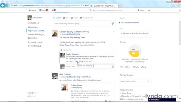 Sending a private message: Yammer Essential Training