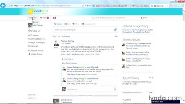 Setting Online Now options: Yammer Essential Training