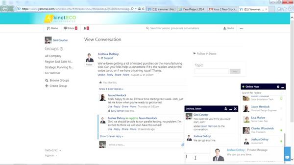 Chatting with a contact: Yammer Essential Training