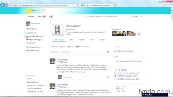 Viewing your current groups: Yammer Essential Training