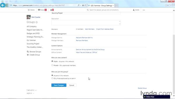 Changing a group from private to public: Yammer Essential Training