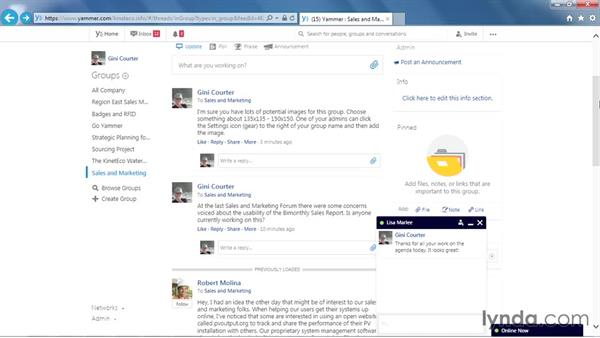 Liking a message: Yammer Essential Training