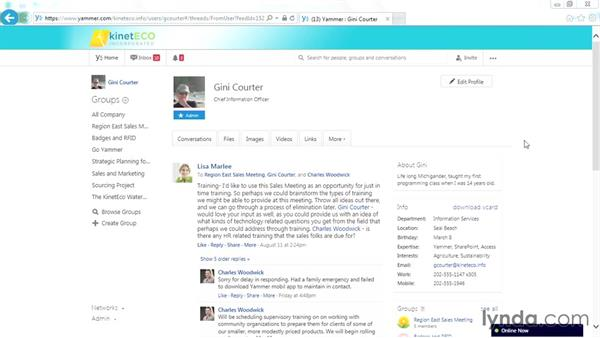 Emailing a message to yourself: Yammer Essential Training