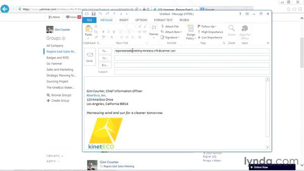 Posting a message via email: Yammer Essential Training
