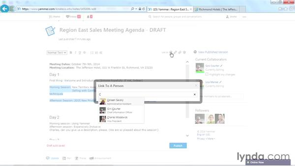 Adding a link to a person: Yammer Essential Training