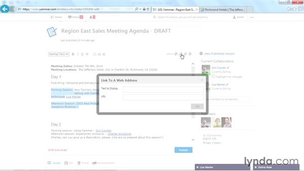 Linking to a URL: Yammer Essential Training