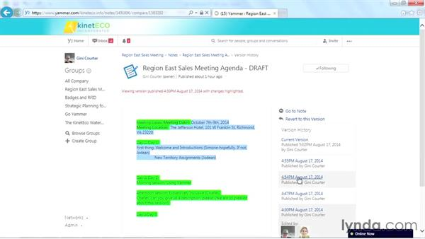 Versioning in notes: Yammer Essential Training