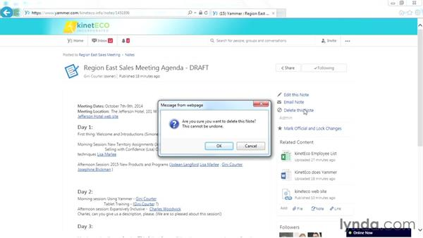 Deleting a note: Yammer Essential Training