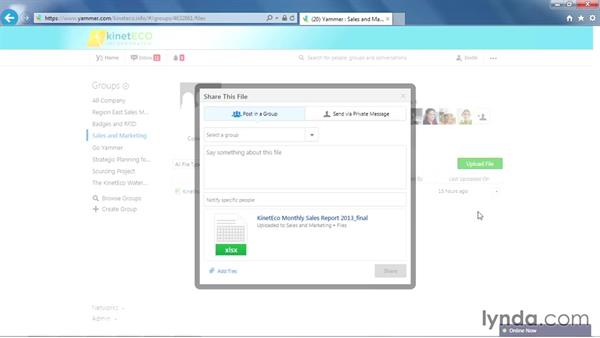 Sharing files internally and externally: Yammer Essential Training