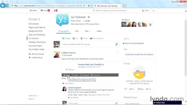 Following a file: Yammer Essential Training