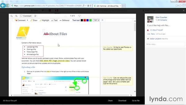 Adding your comments to a file: Yammer Essential Training