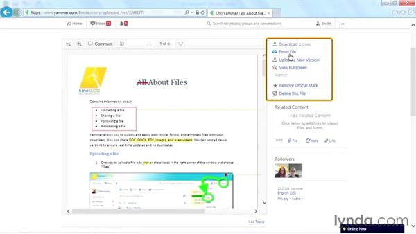 Going to a file: Yammer Essential Training