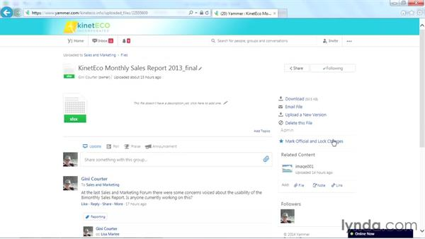 Adding related content to a file: Yammer Essential Training