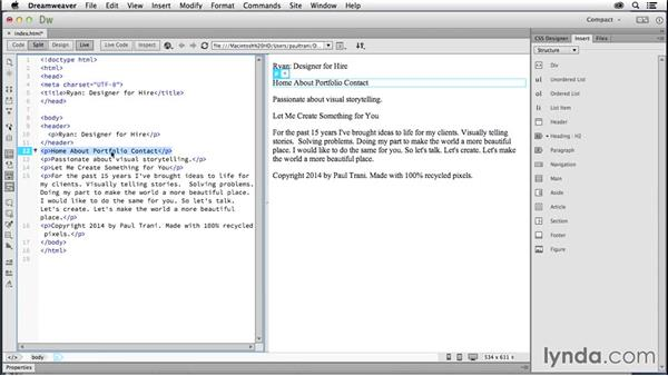 Adding HTML5 content: Creating a First Website in Dreamweaver CC 2014