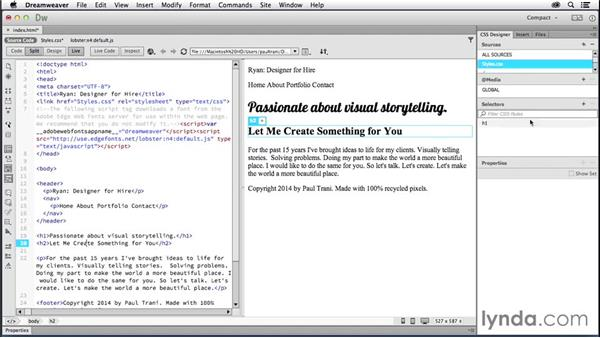 Styling content with CSS: Creating a First Website in Dreamweaver CC 2014