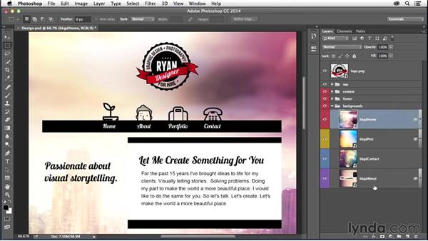 Exporting images from Photoshop: Creating a First Website in Dreamweaver CC 2014
