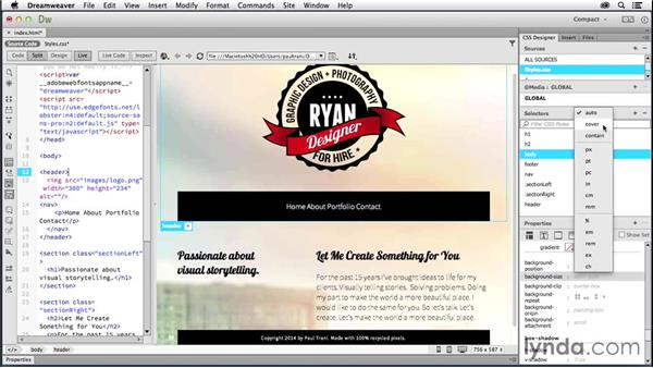 Adding and manipulating images: Creating a First Website in Dreamweaver CC 2014