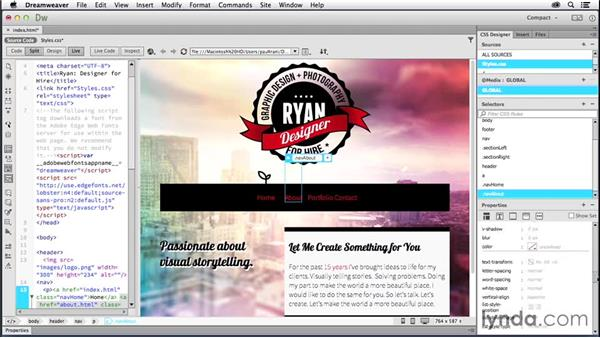 Creating navigation: Creating a First Website in Dreamweaver CC 2014