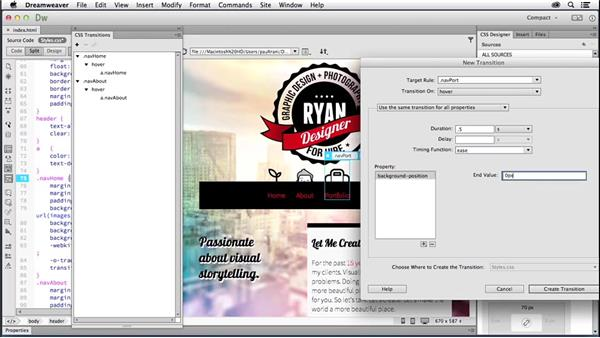 Building transitions on navigation: Creating a First Website in Dreamweaver CC 2014