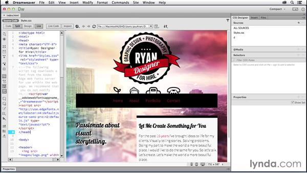 Adding media queries: Creating a First Website in Dreamweaver CC 2014