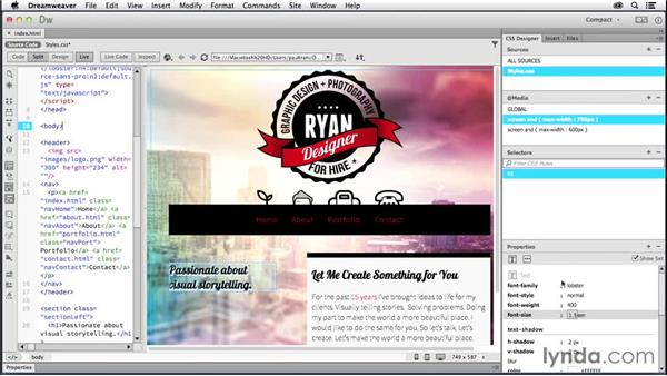 Creating a layout for tablets: Creating a First Website in Dreamweaver CC 2014