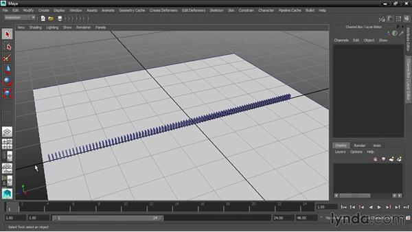 Setting the playback range: Dynamic Simulations with Bullet Physics in Maya