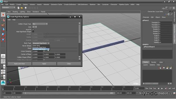 Creating a static body: Dynamic Simulations with Bullet Physics in Maya