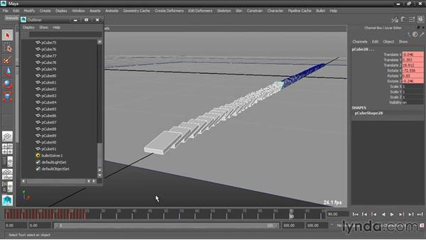 Cleaning up keyframes: Dynamic Simulations with Bullet Physics in Maya