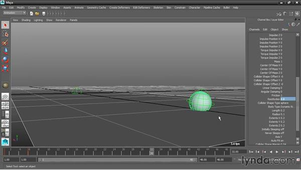 Adjusting bounce and friction: Dynamic Simulations with Bullet Physics in Maya