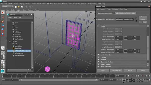 Setting constraint limits: Dynamic Simulations with Bullet Physics in Maya